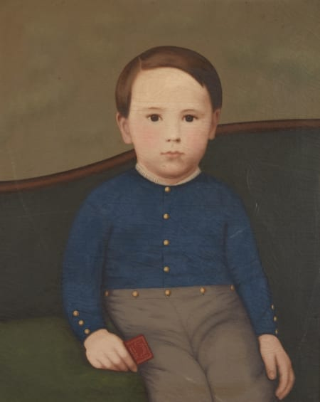 Lot 004: 19th Century American School Folk Art Portrait of a Boy in a Blue Shirt Fine and Decorative Arts of the Globe - Jan 19 2019 Fine Art