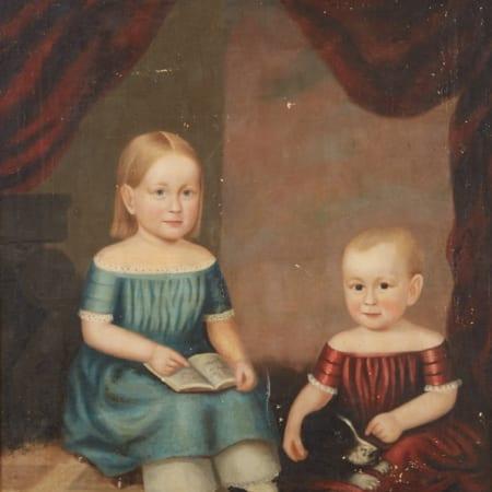 Lot 003: 19th Century American School Folk Art Portrait Children and a Dog Unsigned Fine and Decorative Arts of the Globe - Jan 19 2019 Fine Art