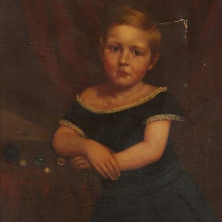 Lot 002: 19th Century American School Portrait of a Girl Unsigned Fine and Decorative Arts of the Globe - Jan 19 2019 Fine Art