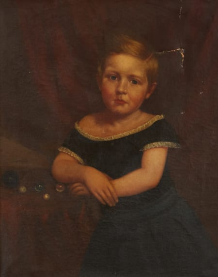 Lot 002: 19th Century American School Portrait of a Girl Unsigned Fine and Decorative Arts of the Globe - Jan 19 2019 Fine Art