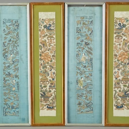 Lot 104: Group of 4 Chinese Silk Embroideries – Robe Cuffs Fine and Decorative Arts of the Globe - Jan 19 2019 Art of World