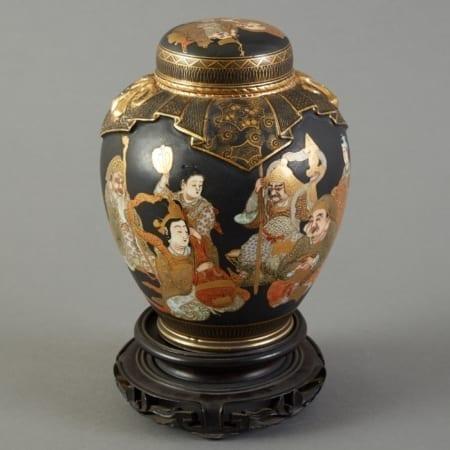 Lot 152: Japanese Meiji Satsuma Vase with Black Background Fine and Decorative Arts of the Globe - Jan 19 2019 Art of World