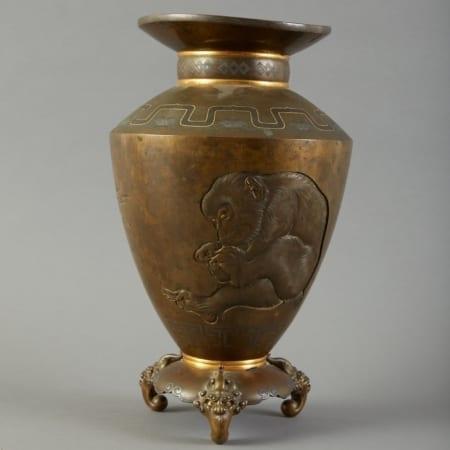 Lot 154: Meiji Yokoyama Japanese Bronze Vase Inlaid Gold / Silver. Fine and Decorative Arts of the Globe - Jan 19 2019 Art of World