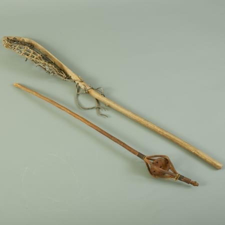 Lot 206: Native American Lacrosse Stick and Game Piece Ojibwe Iriquois Fine and Decorative Arts of the Globe - Jan 19 2019 Art of World