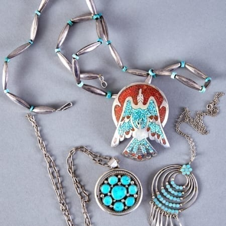 Lot 317: Grp: 3 Navajo & Zuni Silver & Turquoise Necklaces Tommy Singer Dishta Fine and Decorative Arts of the Globe - Jan 19 2019 Art of World