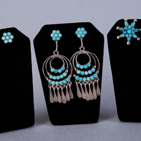 Lot 360: 3 Pair Zuni Dishta Sterling and Turquoise Earrings Fine and Decorative Arts of the Globe - Jan 19 2019 Art of World