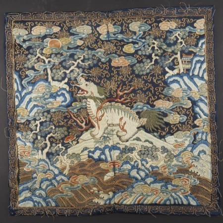 Lot 010: Chinese Embroidered Censor Xiezhi Rank Badge Asian Art and Decorative Art (Day Two) - Sep 29 2018 Asian Art