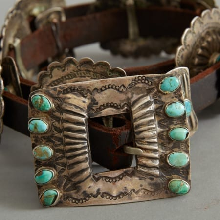 Lot 291: Concho Belt with Turquoise Early 20th c. Fine and Decorative Arts of the Globe - Jan 19 2019 Art of World