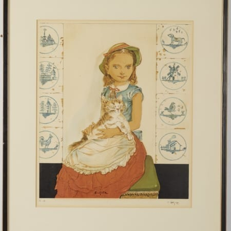 Lot 159: Foujita Jeune Fille Assise avec un Chat 1956 Color Lithograph on Paper Fine and Decorative Arts of the Globe - Jan 19 2019 Decorative Arts