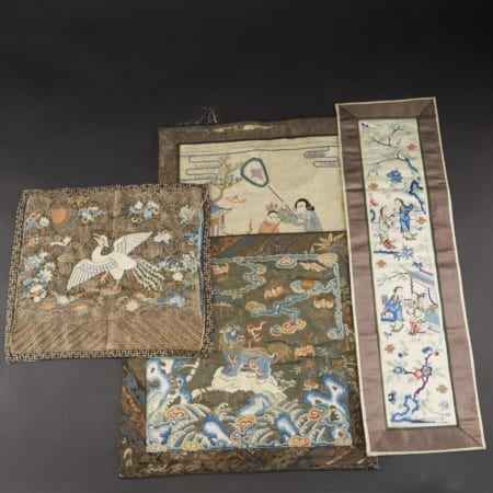 Lot 009: Group of Chinese Silk Embroidery Rank Badges Kossu Asian Art and Decorative Art (Day Two) - Sep 29 2018 Asian Art