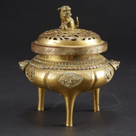 Lot 001: 18th to 19th century Chinese Gilt Bronze Censer Asian Art and Decorative Art (Day Two) - Sep 29 2018 Asian Art