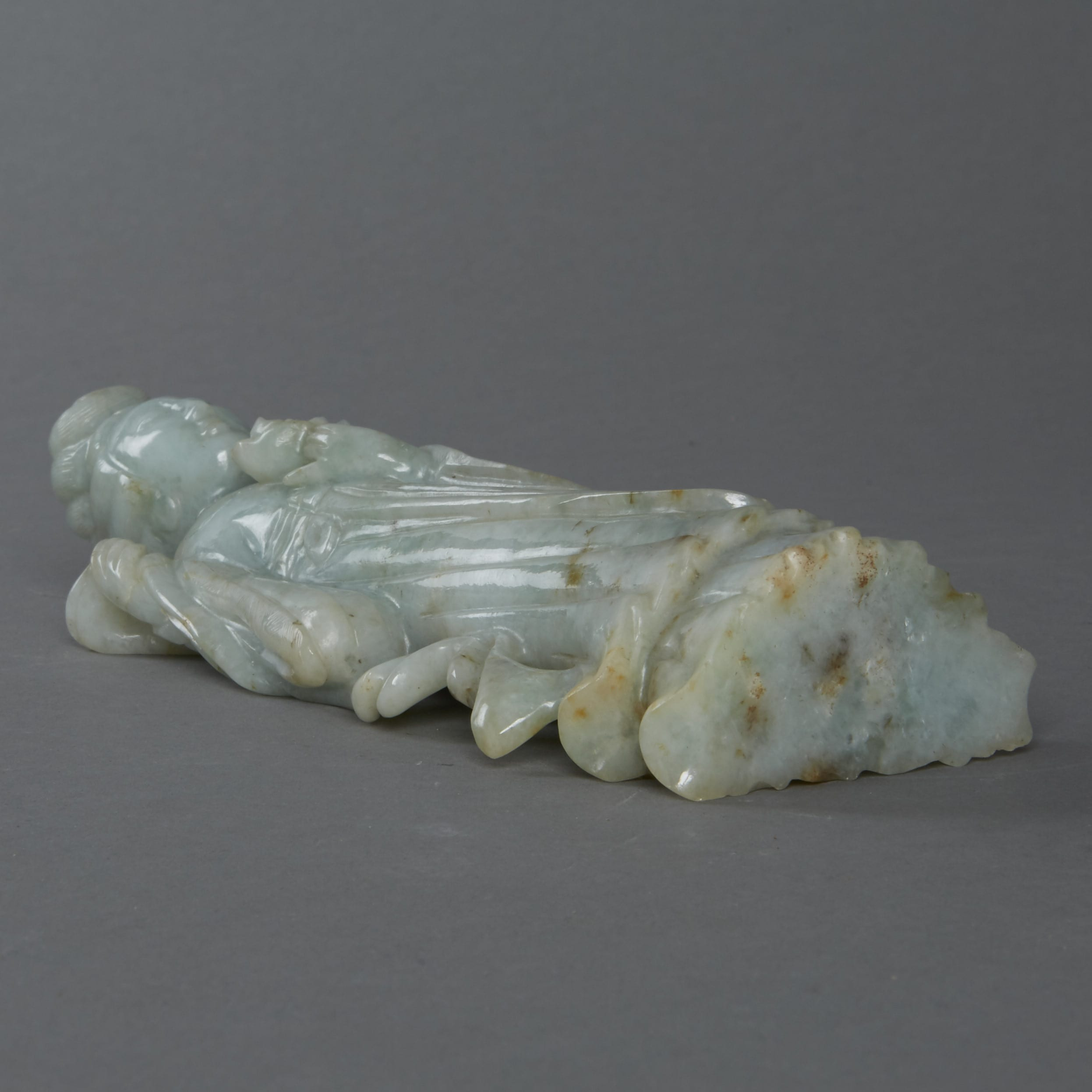 Lot 013: Chinese 19th century Carved Jade Maiden holding a Flower