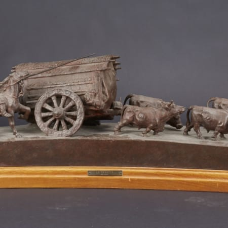 Lot 019: Jose Belloni La Carreta Bronze Sculpture