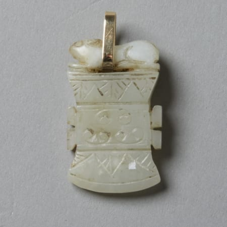 Lot 022: Chinese 19th century Jade Pendant in the form of a Squirrel on an Archaic Axe Head with Gold Bale