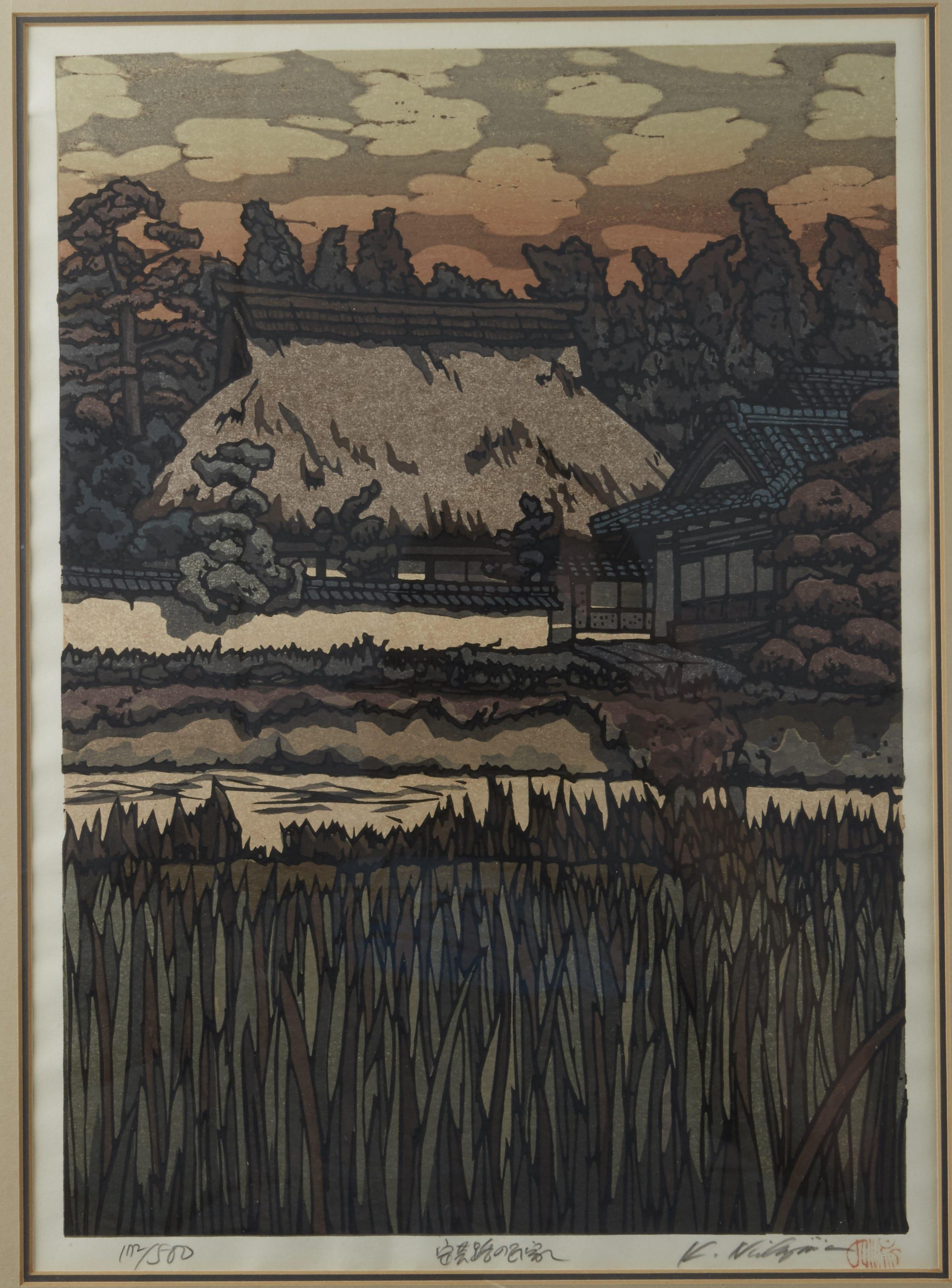 Lot 253: Katsuyuki Nishijima (Japanese b. 1945) colored woodblock print