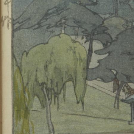 """Lot 264: Hiroshi Yoshida """"""""Sarusawa Pond"""" Woodblock Print"""""""