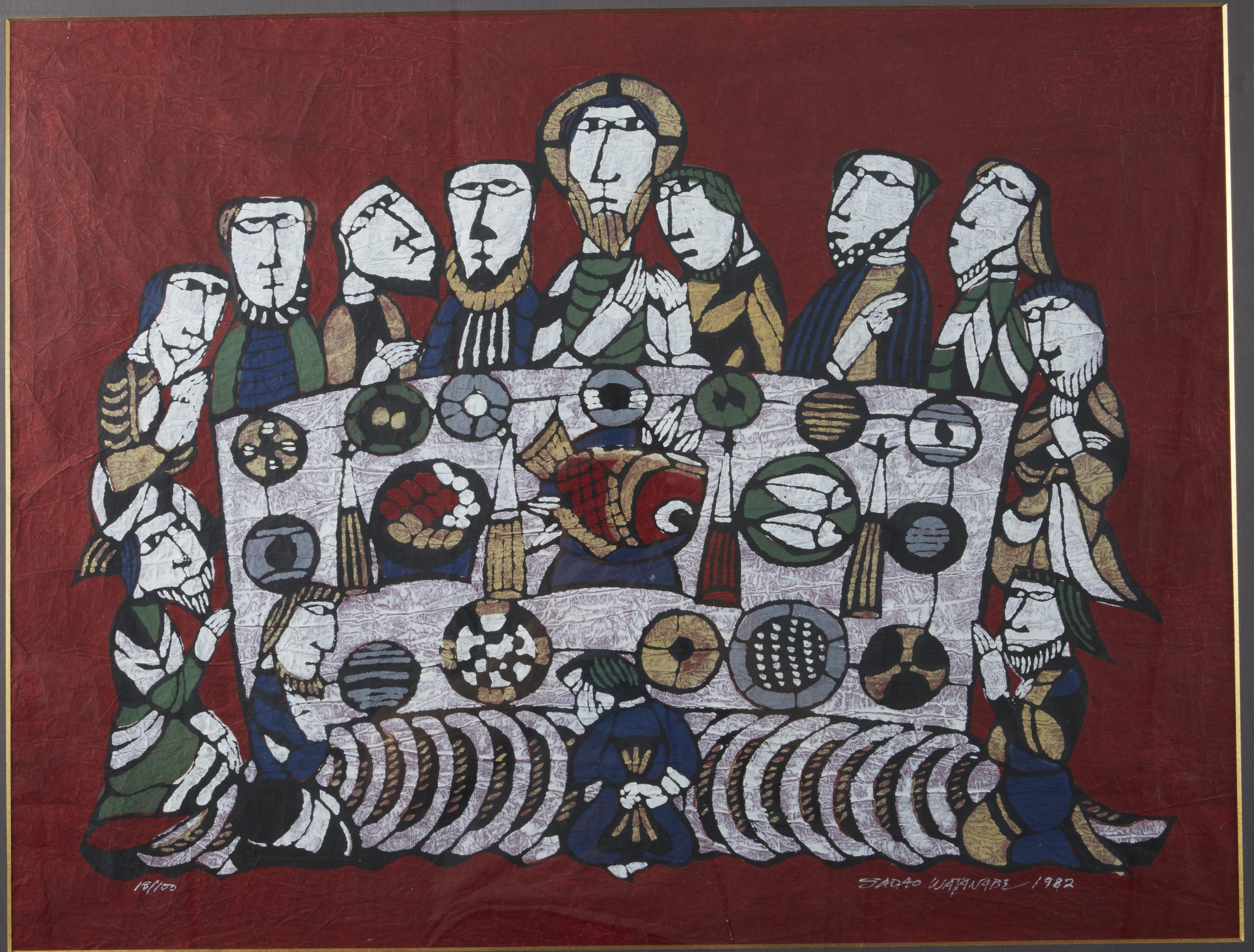 "Lot 272: Sadao Watanabe """"Untitled (Last Supper Japanese Style"") Woodblock Print"""