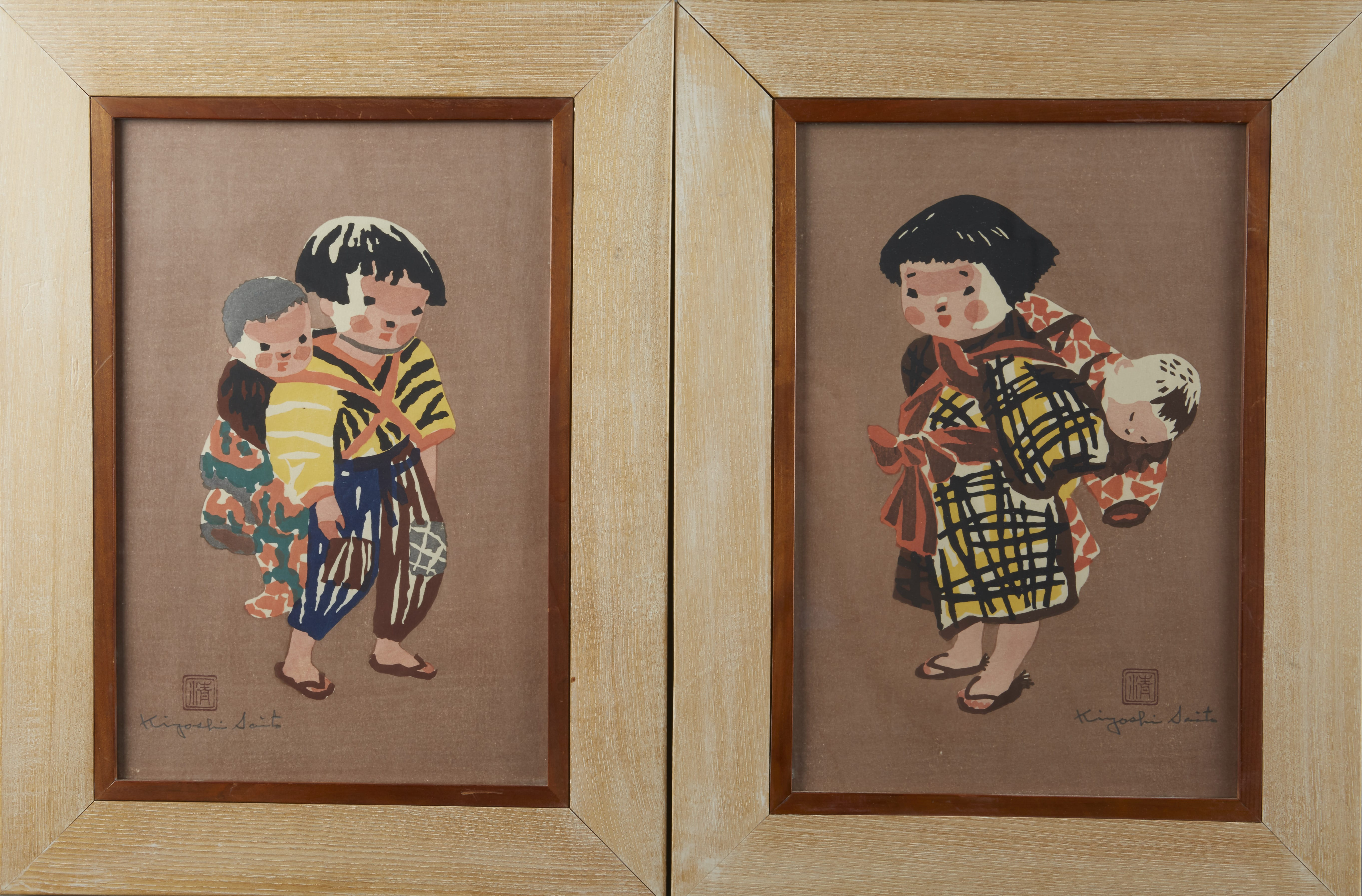 Lot 274: Pair of Kiyoshi Saito Woodblock Prints depicting Children