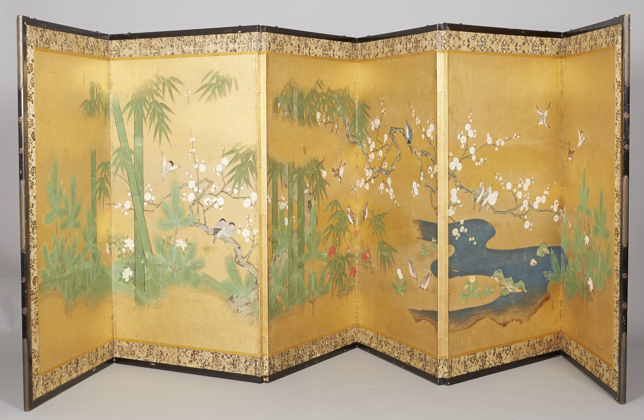 Lot 085: Japanese Painted 6 Panel Screen Early Edo Period