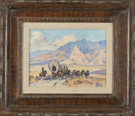 Lot 011: Marjorie Reed Pioneers--Westward Ho! Oil on Canvas-laid Board