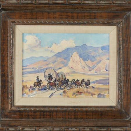 Lot 011: Marjorie Reed Pioneers--Westward Ho! Oil on Canvas-laid Board