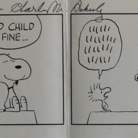 Lot 028: Charles Schulz Original Four-Panel Peanuts Comic Strip Signed