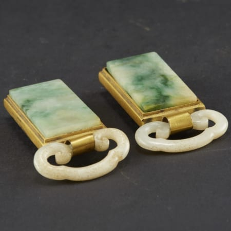 Lot 031: Fine Set of 19th Century White and Moss Jade Gilt Bronze Buckles Asian Art and Decorative Art (Day Two) - Sep 29 2018 Asian Art