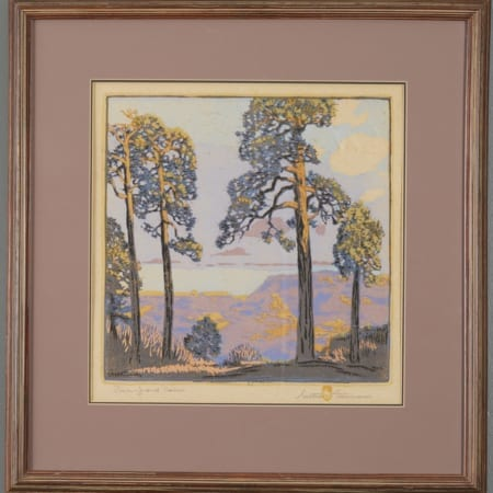 Lot 015: Gustave Baumann Pines--Grand Canyon Color Woodcut