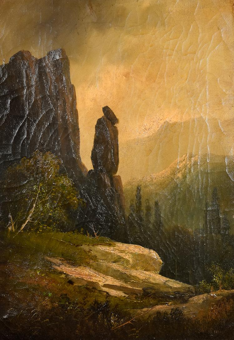 "Lot 014: Frederick Shafer (1839-1927) """"Chimney Rock Sierra Nevada Mts."" Oil on Canvas Painting"" 1880"