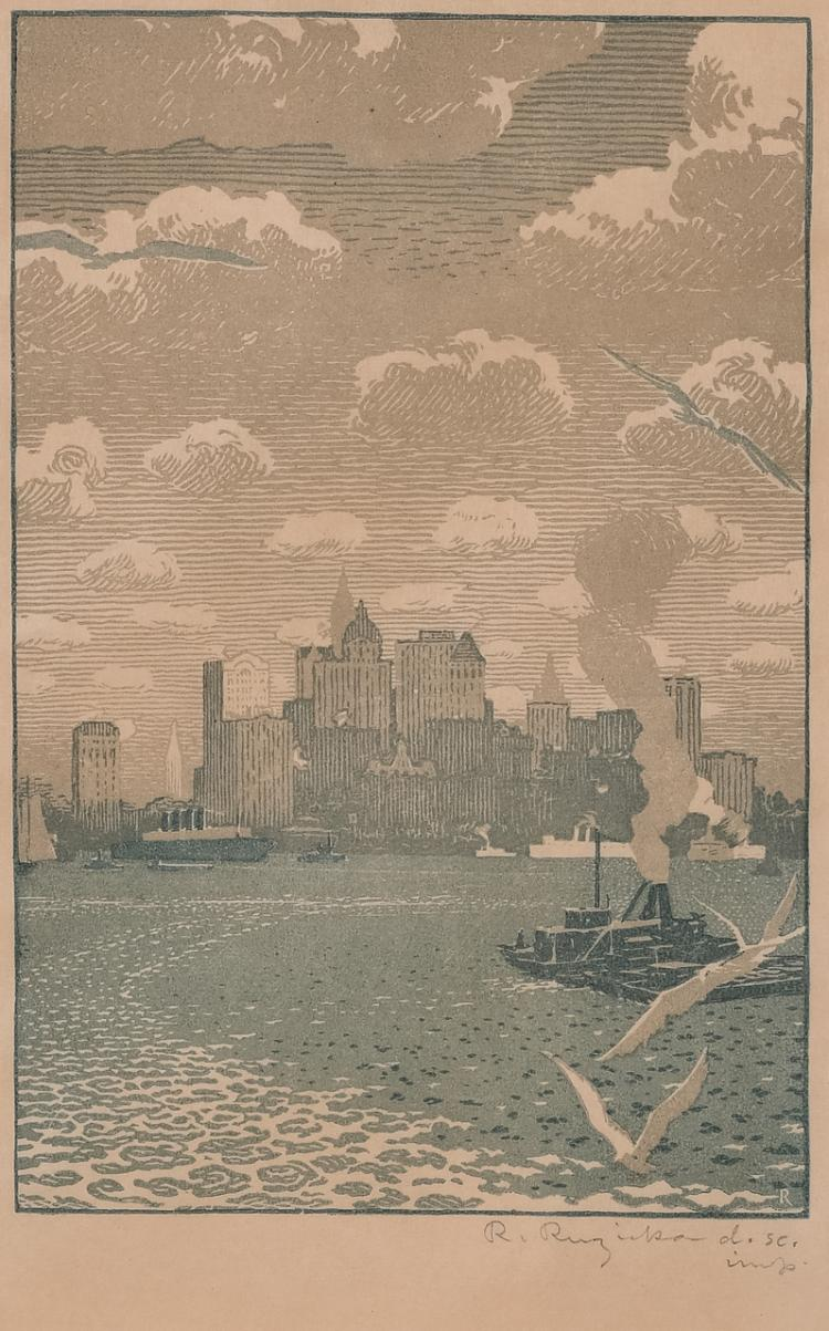 "Lot 016: Rudolf Ruzicka (1883-1978) """"Lower Manhattan"" color woodcut on paper"" c. early-mid 20th cent."