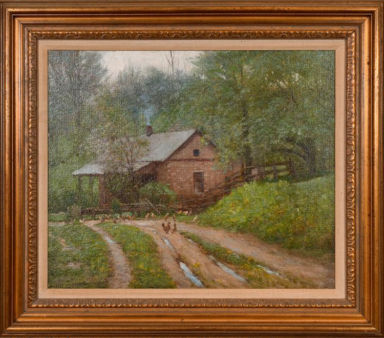 "Lot 001: Alexis Jean Fournier (1865-1948) """"The Little Stone House"" oil on masonite painting"" c. 1910"