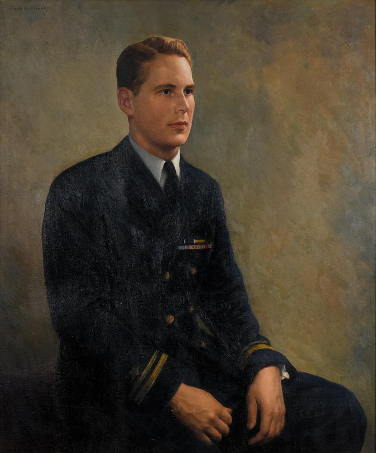 Lot 002: Ivan Olinsky (1878-1948) Portrait of an Officer oil on canvas painting c. 1950