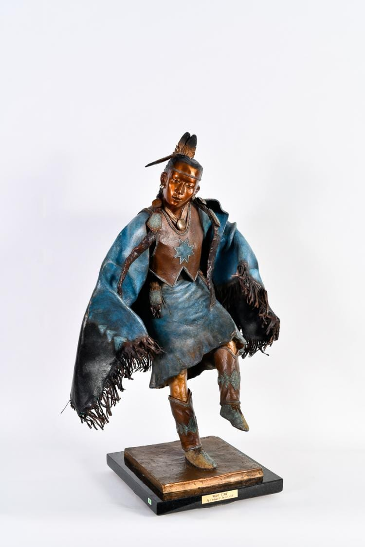 "Lot 008: Oreland Joe (b. 1958) """"Night Star"" Bronze Sculpture"""