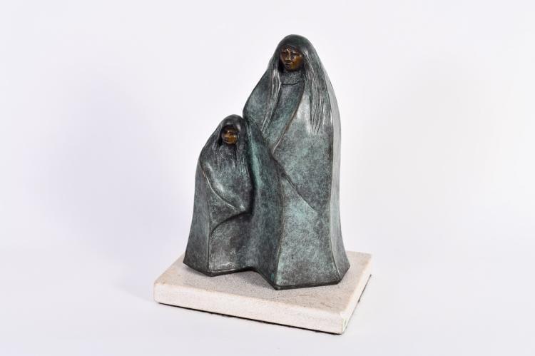 """Lot 009: Allan Houser (1914-1994) """"""""Gathering Clouds"""" Bronze Sculpture"""" 1991"""