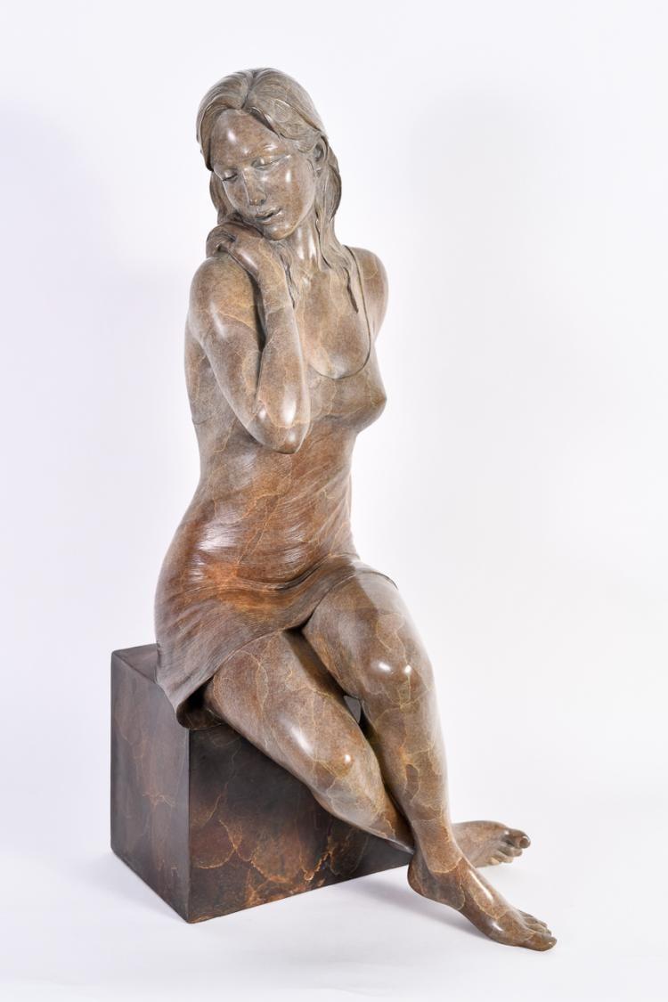 "Lot 010: Rodd Ambroson (20th/21st cent.) """"Serenity"" Bronze Sculpture"""