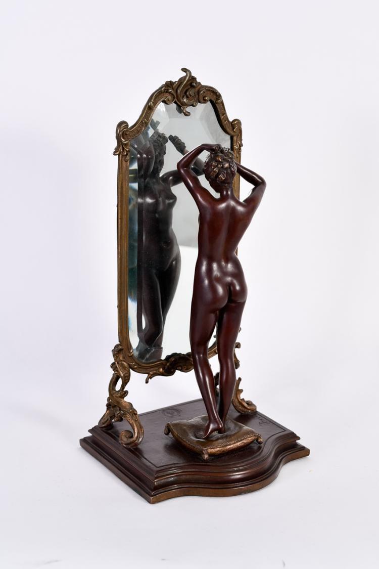 "Lot 012: Emile Pinedo (1840-1916) """"Unknown (Nude in Mirror)"" Bronze Sculpture"""