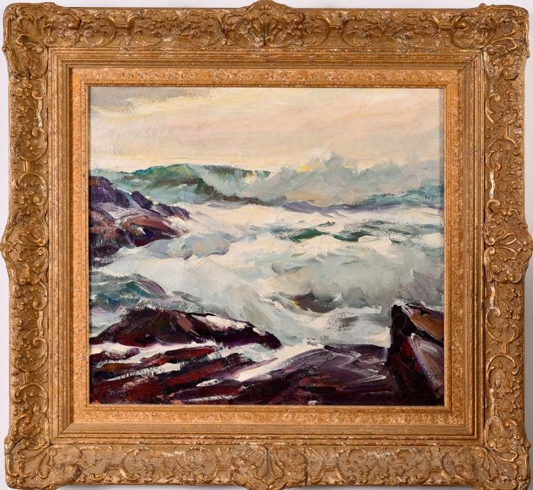 "Lot 015: Emile Gruppe (1896-1978) """"High Sea Bass Rocks"" oil on canvas painting"" 20th century"