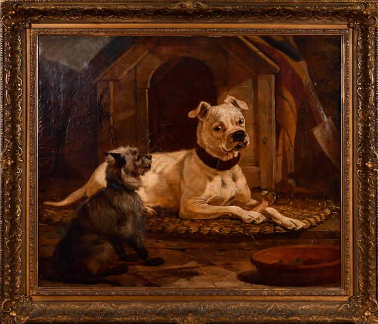 "Lot 017: Attributed William Osborne (1823-1901) """"Unknown (American Bulldog and Terrier)"" oil on canvas painting"" c. late 19th cent."