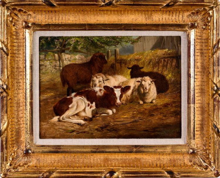 "Lot 018: Arthur Tait (1819-1905) """"Repose"" oil on panel painting"" 1876"