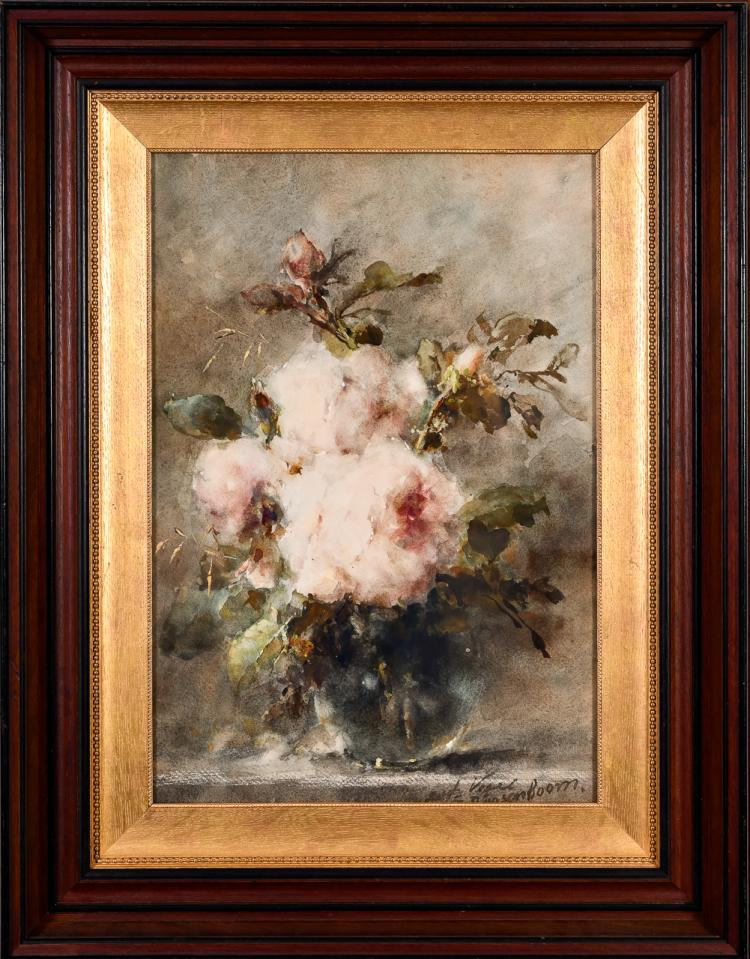"Lot 019: Margaretha Roosenboom (1843-1896) """"Unknown (Rose Still Life)"" watercolor and gouache painting on paper"" 19th cent."