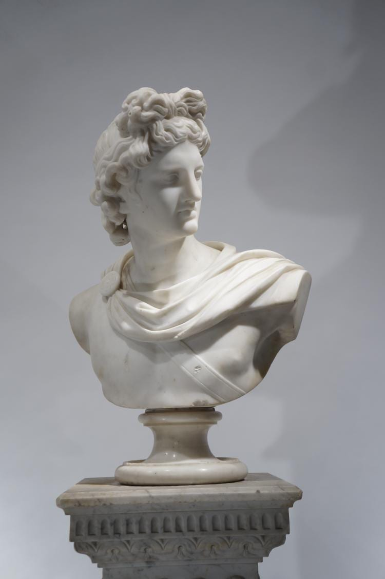 "Lot 020: Italian School Marble Bust of Apollo"" c. early 20th century"
