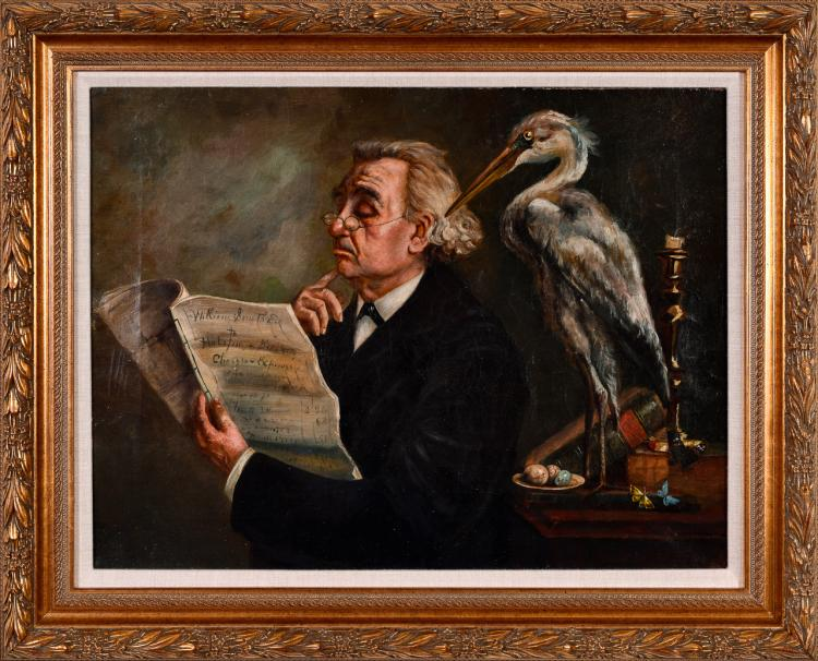 "Lot 021: English School 19th century """"Unknown (Man and Heron)"" oil on canvas painting"""