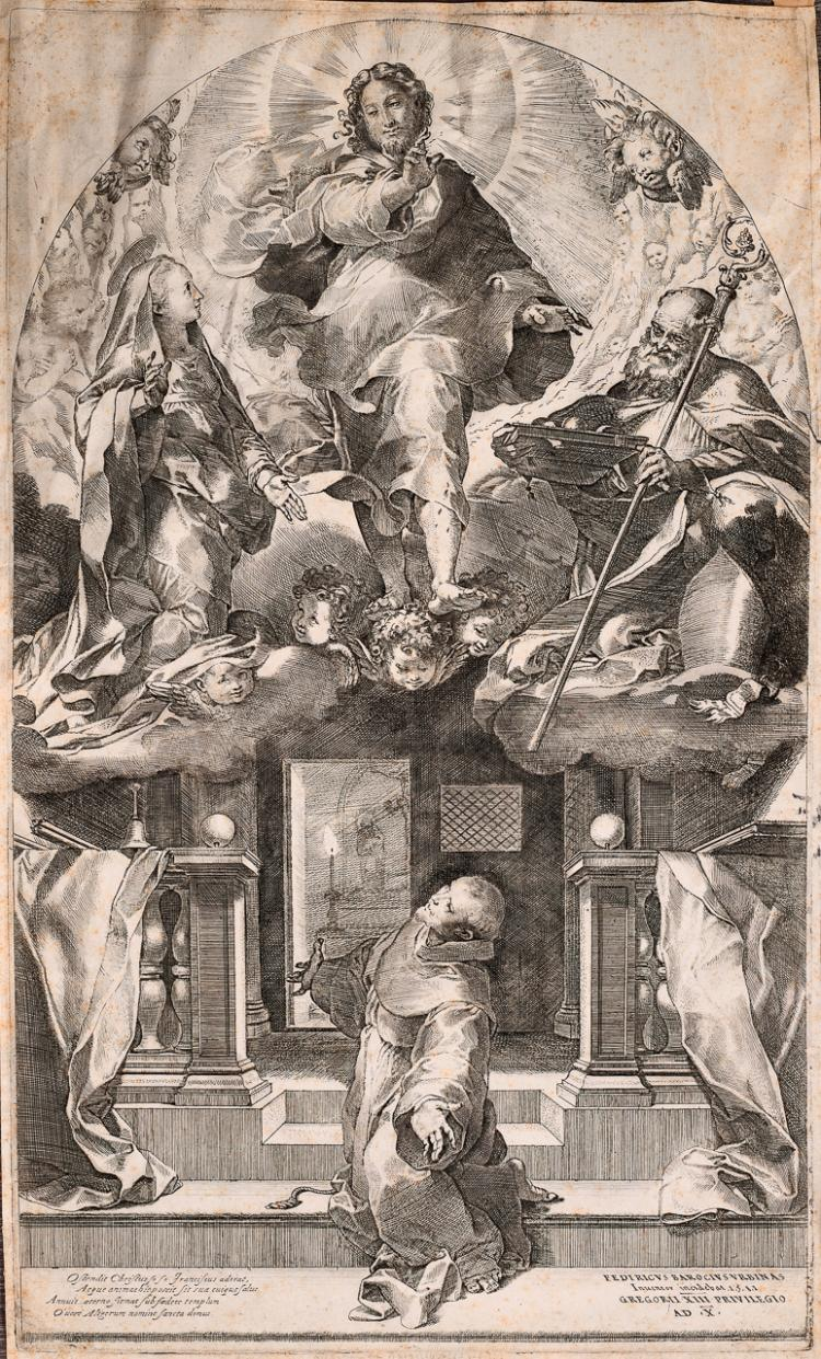 "Lot 025: Federico Barocci (1526/35-1612) """"Die Fision des hl Franciscus"" engraving on paper"" 1581"