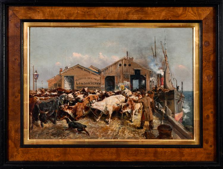 "Lot 026: William Woodhouse (1857-1939) """"Cattle Arriving at Morecambe"" oil on canvas painting"" early 20th century"