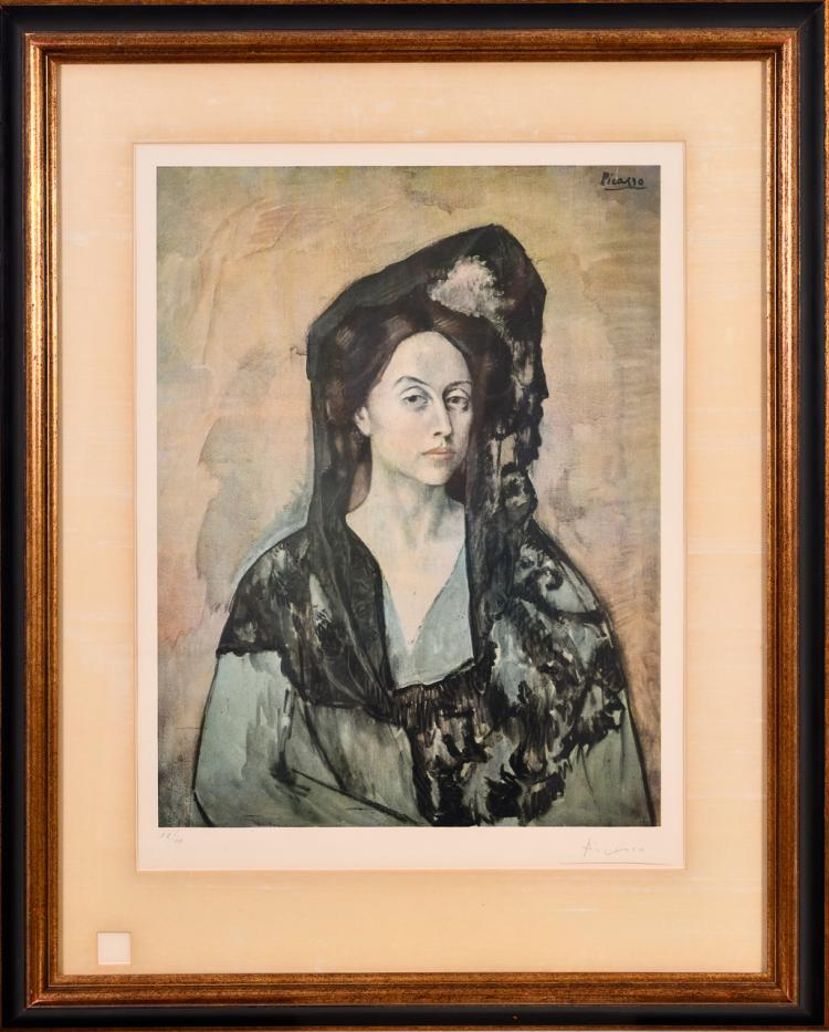 "Lot 027: After Pablo Picasso """"Madame Ricardo Canals"" color lithograph"" 1966"
