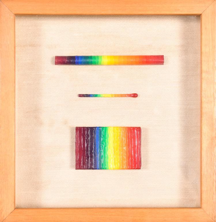 """Lot 031: Ay-O Takao Iijima (b.1931) """"""""Rainbow Still Life"""" painted objects"""" 1968"""