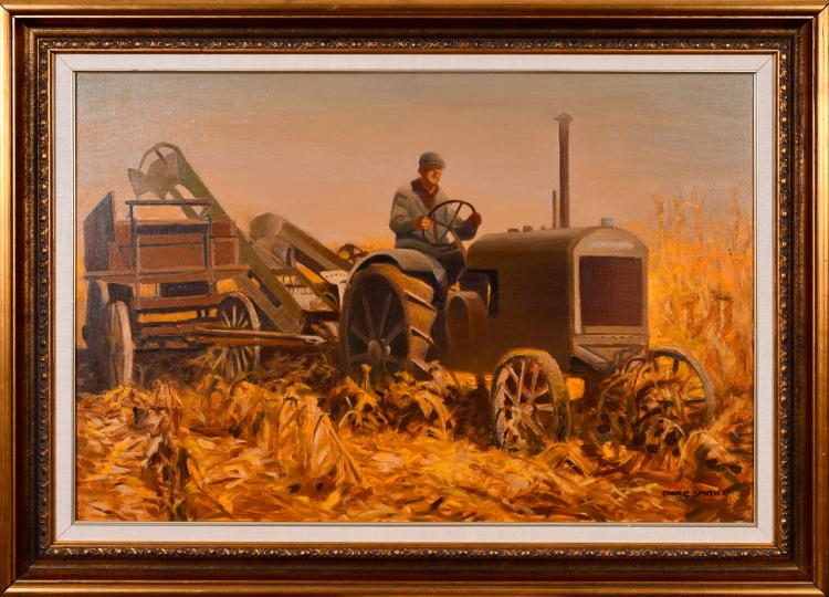 "Lot 071: Gary Ernest Smith (b. 1938) """"Chopping Corn"" oil on canvas painting"" c. 1990"