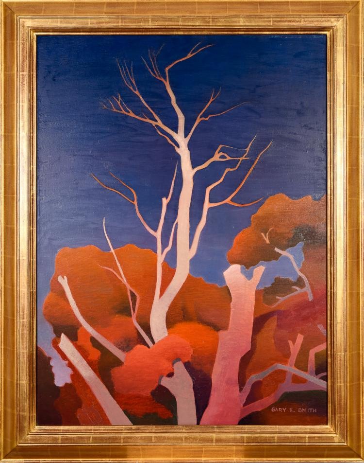 "Lot 072: Gary Ernest Smith (b. 1938) """"Leaves and Limbs"" oil on canvas painting"" c. 1990"