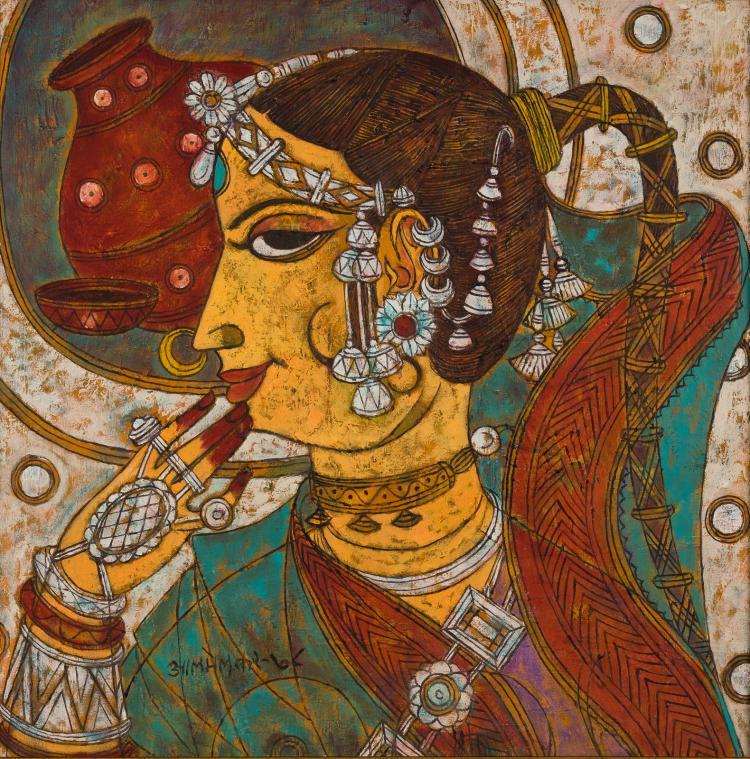 """Lot 078: Abdul Rahiman Appabhai Almelkar (1920-1982) """"""""Untitled"""" oil on canvas painting"""" 1966"""