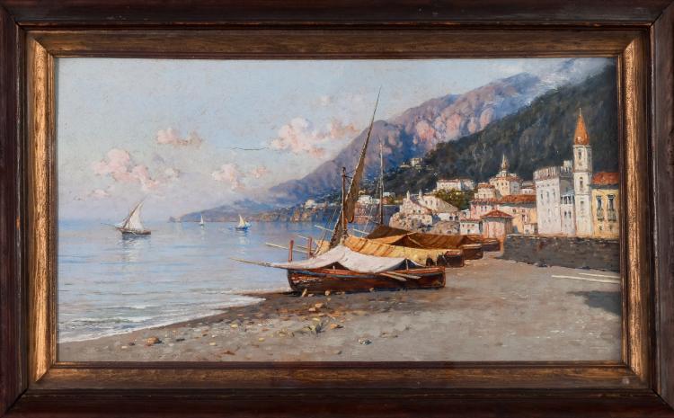 """Lot 084: Giuseppe Carelli (1858-1921) """"""""Amalfi"""" oil on panel painting"""" c. 1905"""